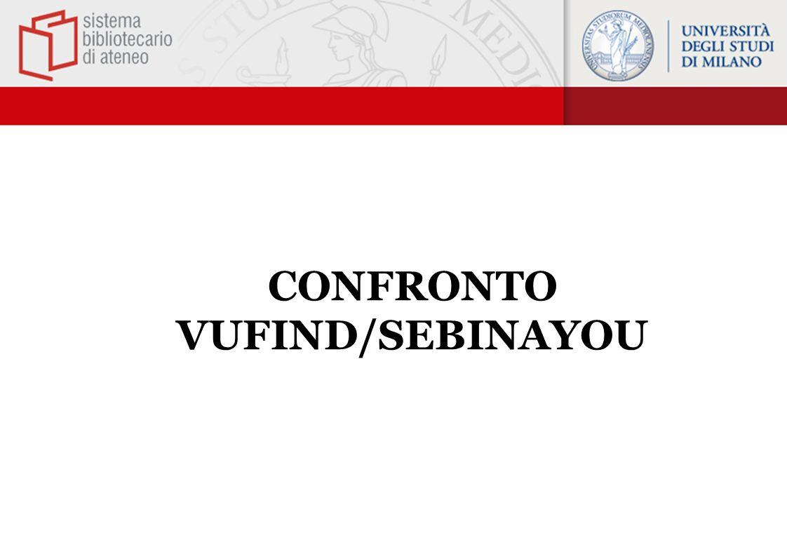 CONFRONTO VUFIND/SEBINAYOU