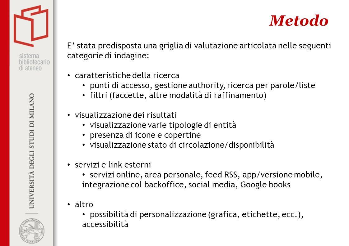 Metodo E stata predisposta una griglia di valutazione articolata nelle seguenti categorie di indagine: caratteristiche della ricerca punti di accesso,