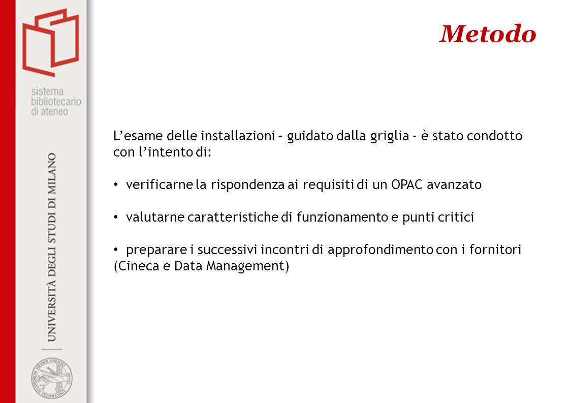 Metodo Lesame delle installazioni – guidato dalla griglia - è stato condotto con lintento di: verificarne la rispondenza ai requisiti di un OPAC avanz