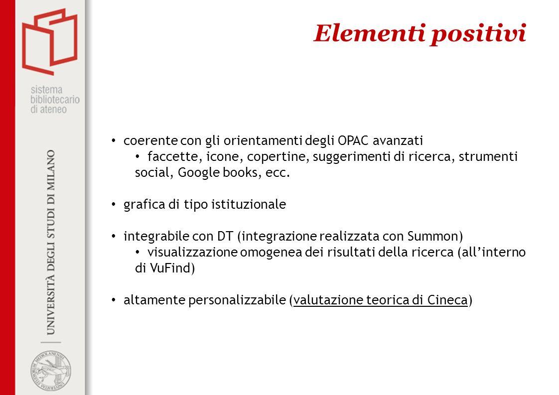 Elementi positivi coerente con gli orientamenti degli OPAC avanzati faccette, icone, copertine, suggerimenti di ricerca, strumenti social, Google book
