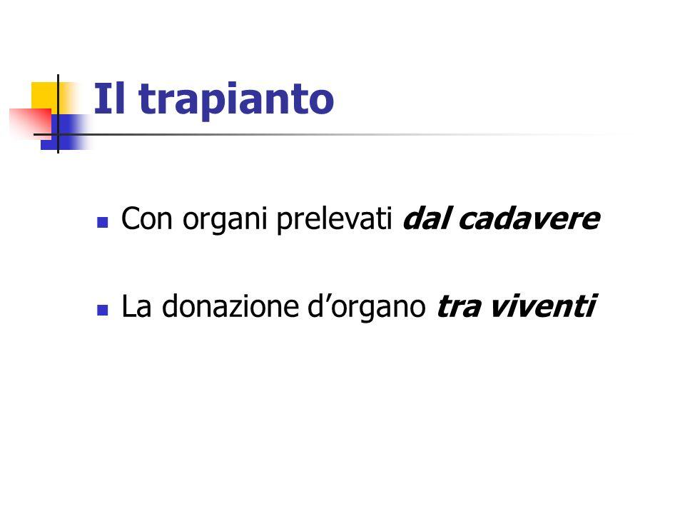 Il trapianto Con organi prelevati dal cadavere La donazione dorgano tra viventi
