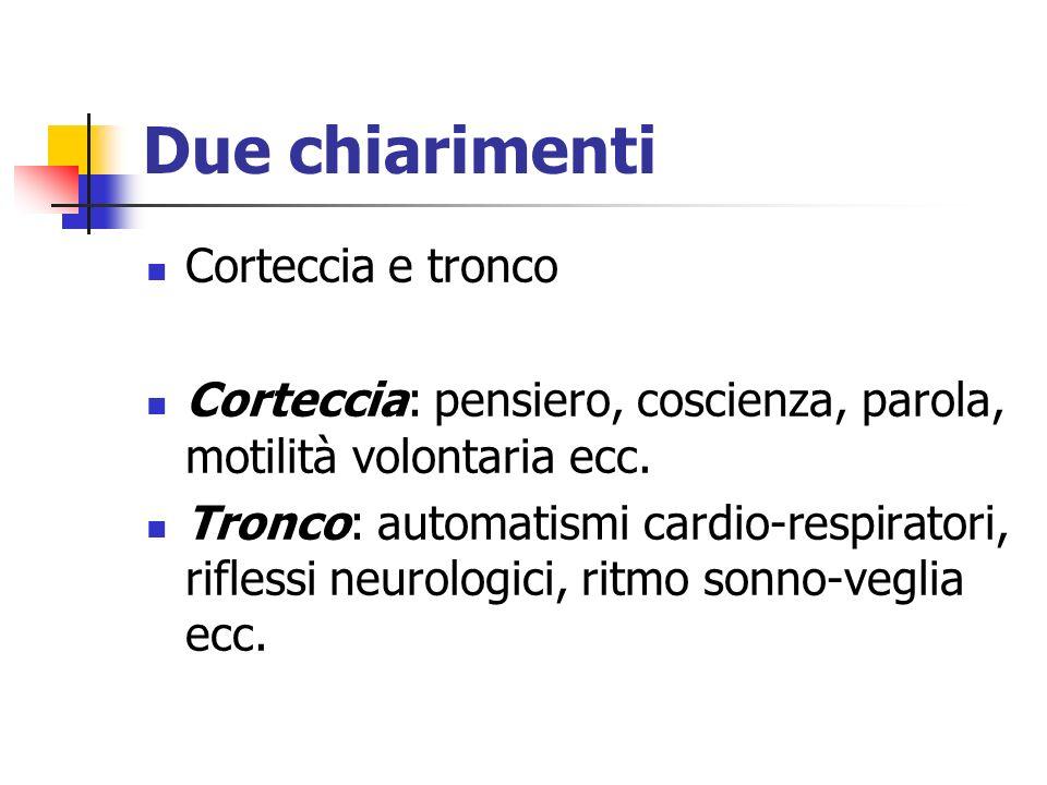 Due chiarimenti Corteccia e tronco Corteccia: pensiero, coscienza, parola, motilità volontaria ecc. Tronco: automatismi cardio-respiratori, riflessi n