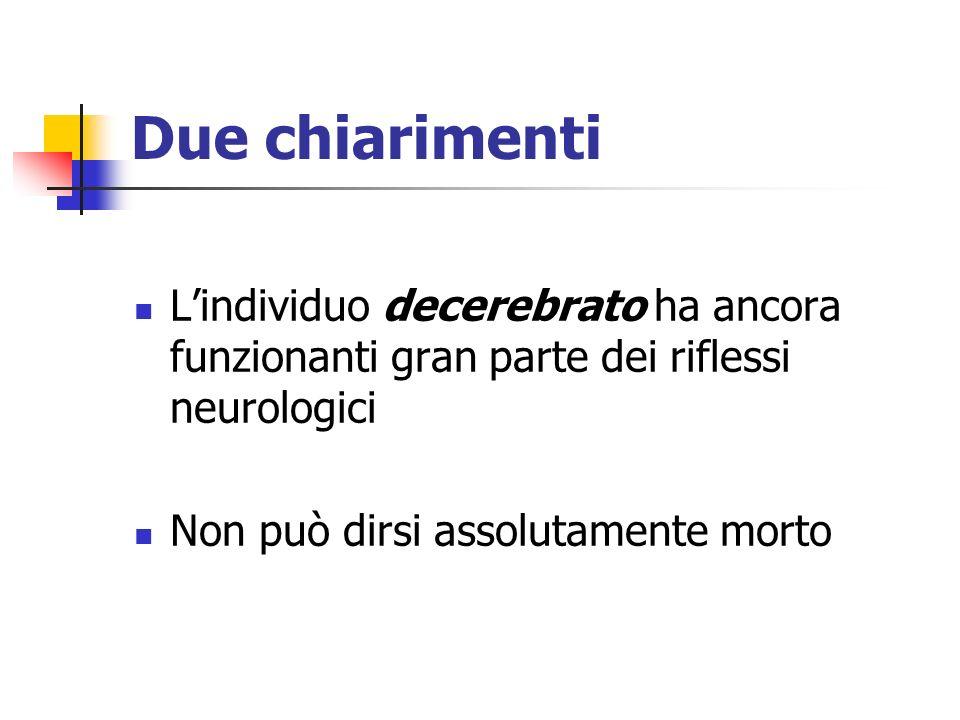 Due chiarimenti Lindividuo decerebrato ha ancora funzionanti gran parte dei riflessi neurologici Non può dirsi assolutamente morto