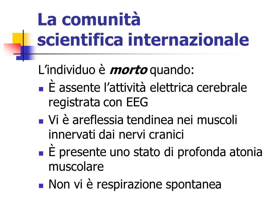 La comunità scientifica internazionale Lindividuo è morto quando: È assente lattività elettrica cerebrale registrata con EEG Vi è areflessia tendinea