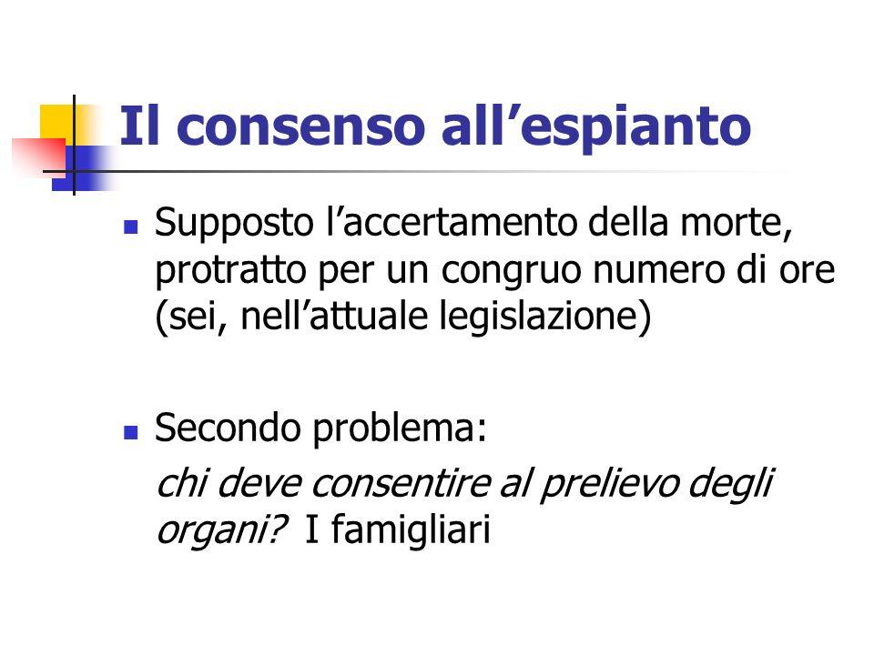 Il consenso allespianto Supposto laccertamento della morte, protratto per un congruo numero di ore (sei, nellattuale legislazione) Secondo problema: c