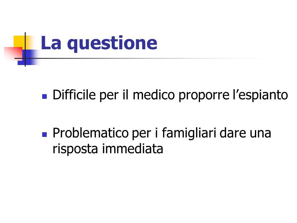 La questione Difficile per il medico proporre lespianto Problematico per i famigliari dare una risposta immediata
