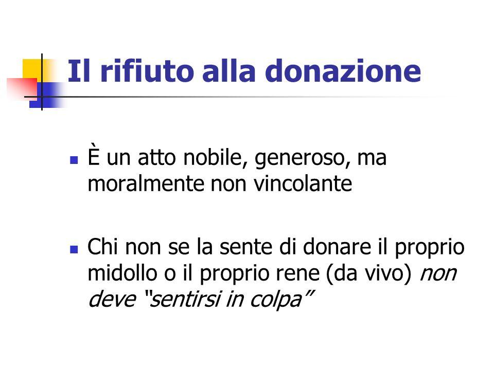 Il rifiuto alla donazione È un atto nobile, generoso, ma moralmente non vincolante Chi non se la sente di donare il proprio midollo o il proprio rene