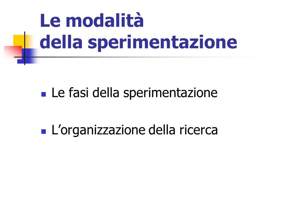 Le modalità della sperimentazione Le fasi della sperimentazione Lorganizzazione della ricerca