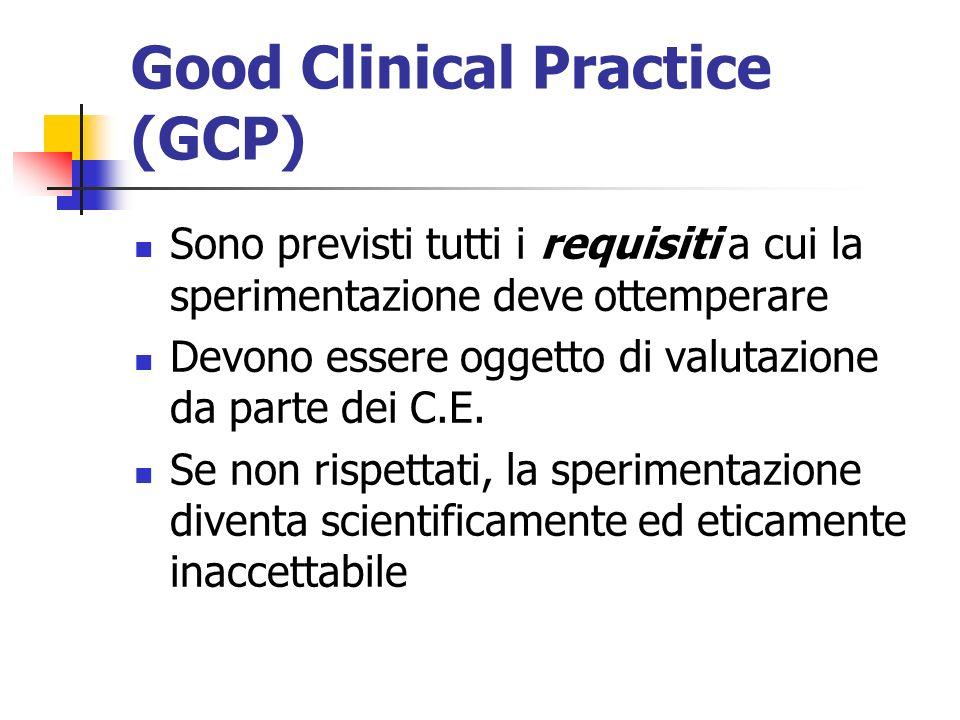 Good Clinical Practice (GCP) Sono previsti tutti i requisiti a cui la sperimentazione deve ottemperare Devono essere oggetto di valutazione da parte dei C.E.