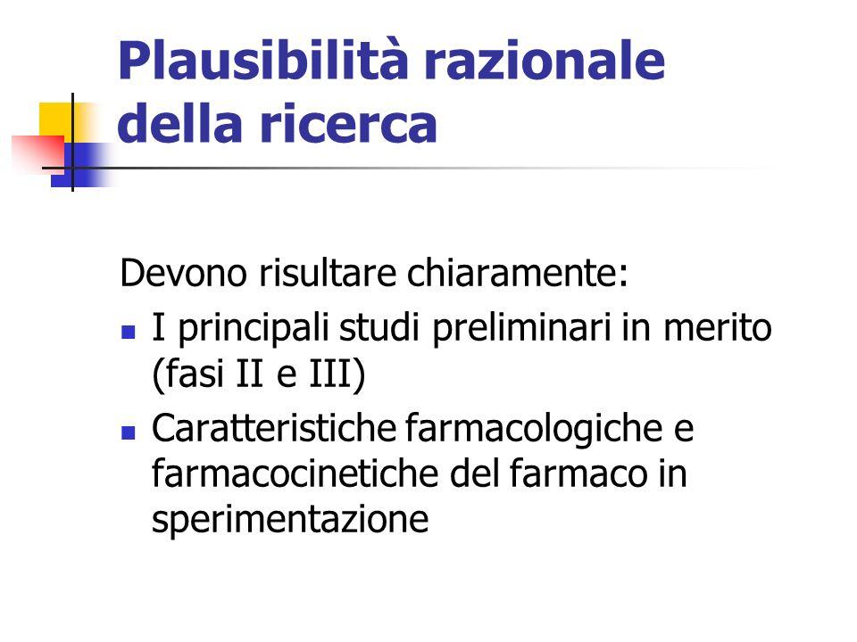 Plausibilità razionale della ricerca Devono risultare chiaramente: I principali studi preliminari in merito (fasi II e III) Caratteristiche farmacologiche e farmacocinetiche del farmaco in sperimentazione