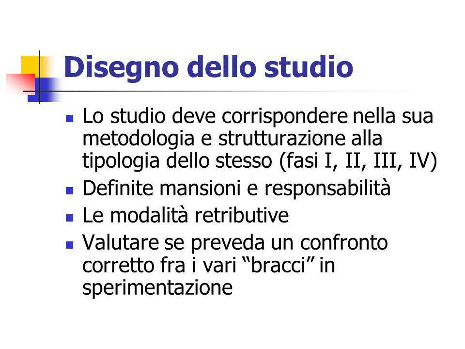 Disegno dello studio Lo studio deve corrispondere nella sua metodologia e strutturazione alla tipologia dello stesso (fasi I, II, III, IV) Definite ma