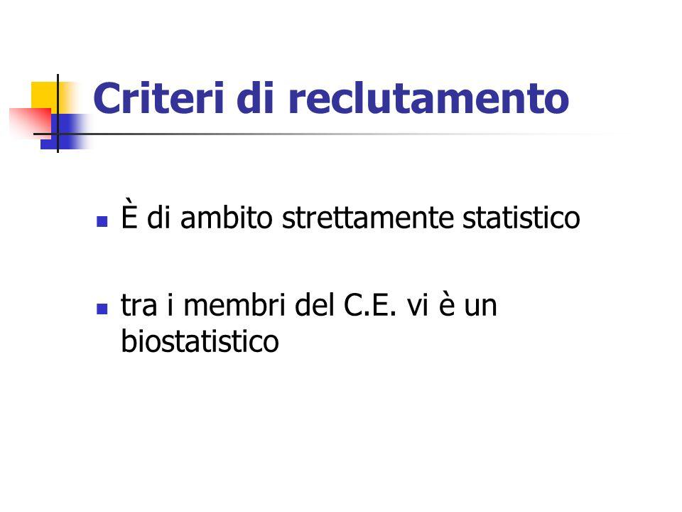 Criteri di reclutamento È di ambito strettamente statistico tra i membri del C.E. vi è un biostatistico
