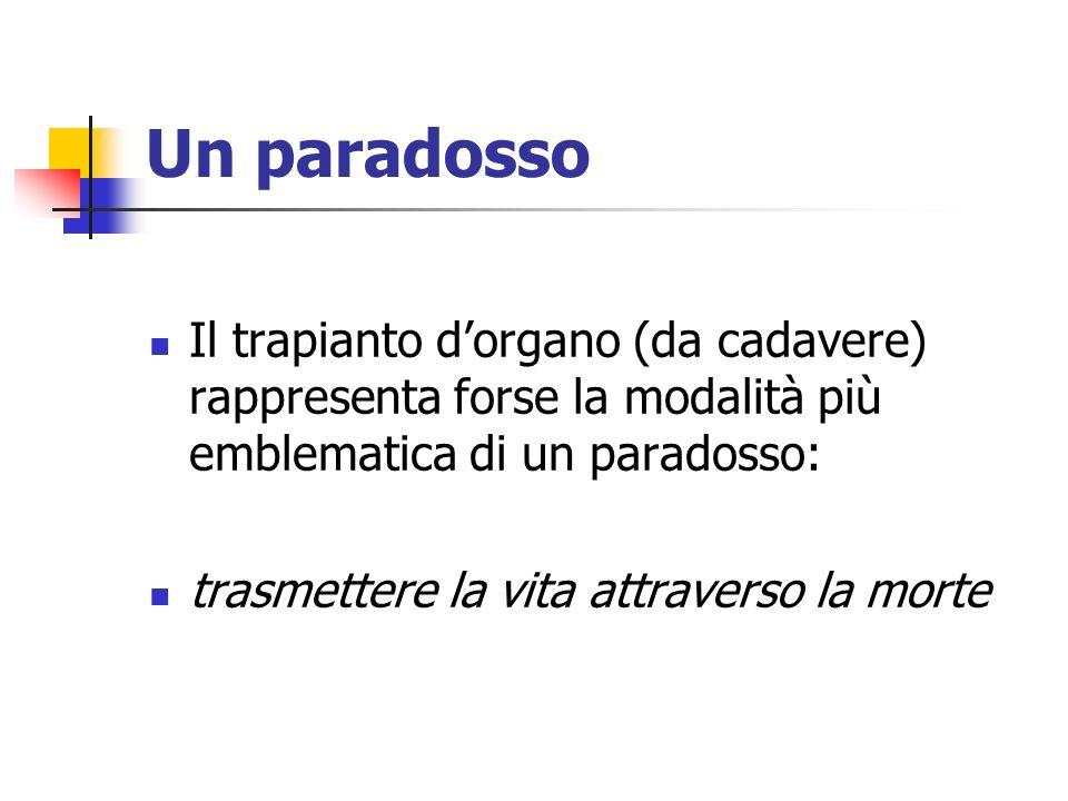 Un paradosso Il trapianto dorgano (da cadavere) rappresenta forse la modalità più emblematica di un paradosso: trasmettere la vita attraverso la morte