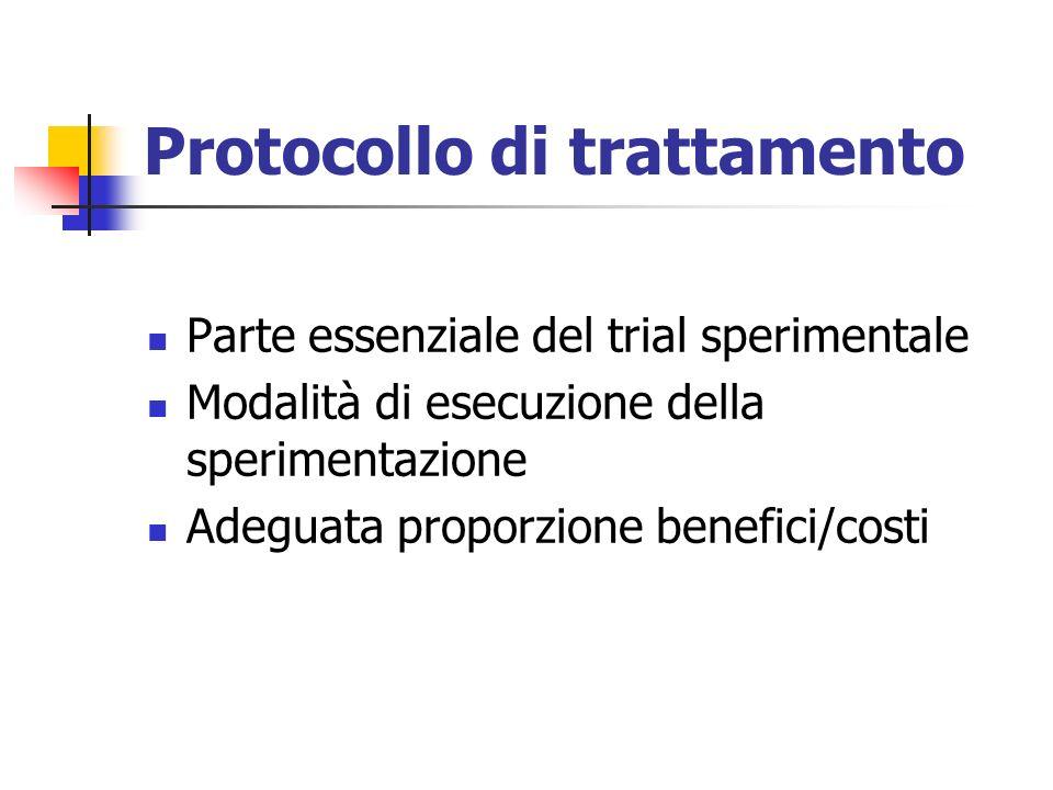 Protocollo di trattamento Parte essenziale del trial sperimentale Modalità di esecuzione della sperimentazione Adeguata proporzione benefici/costi