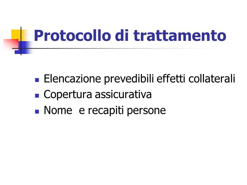 Protocollo di trattamento Elencazione prevedibili effetti collaterali Copertura assicurativa Nome e recapiti persone