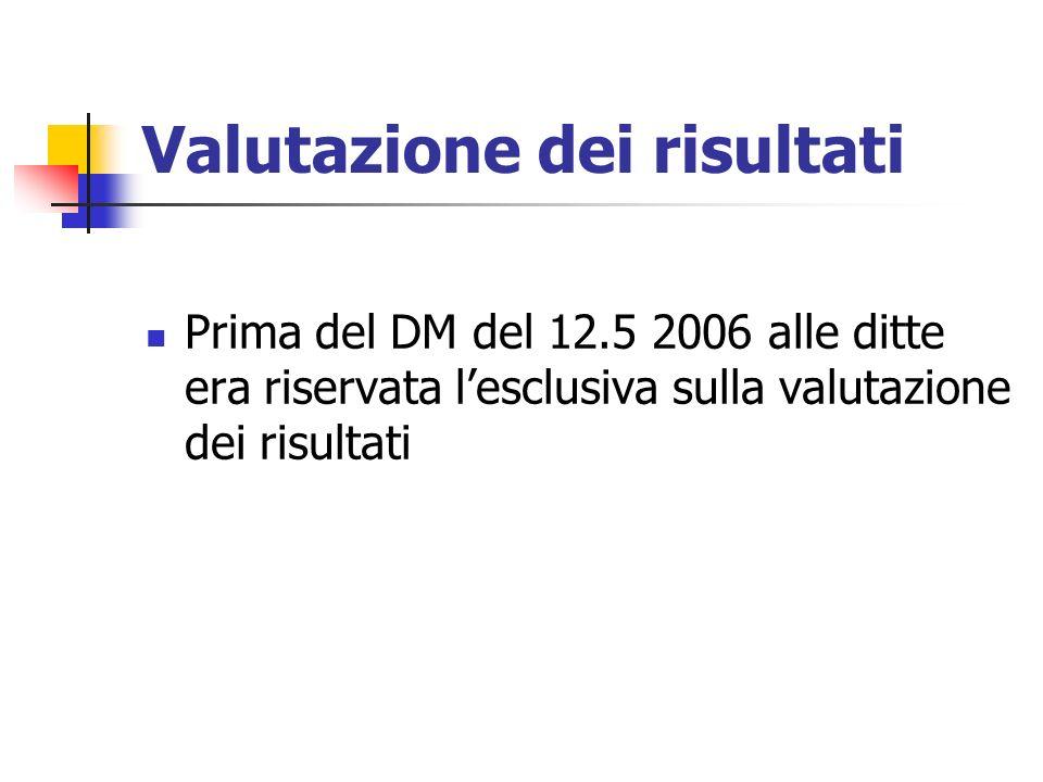 Valutazione dei risultati Prima del DM del 12.5 2006 alle ditte era riservata lesclusiva sulla valutazione dei risultati
