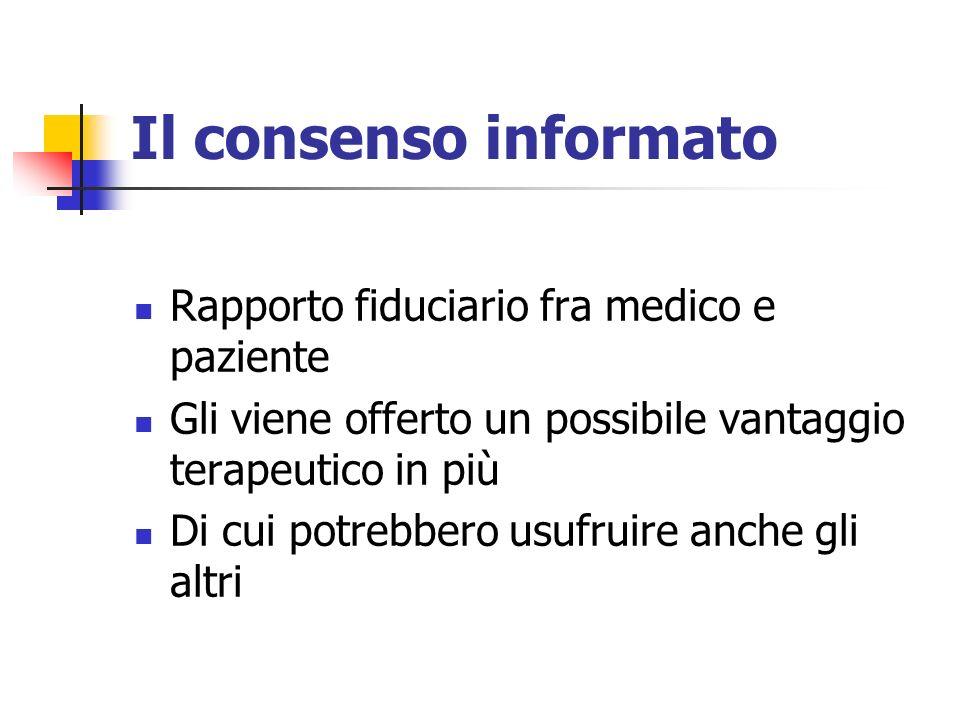 Il consenso informato Rapporto fiduciario fra medico e paziente Gli viene offerto un possibile vantaggio terapeutico in più Di cui potrebbero usufruir