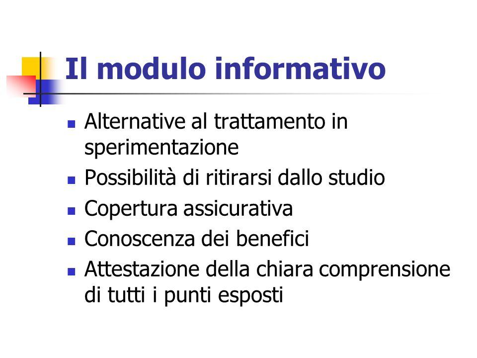 Il modulo informativo Alternative al trattamento in sperimentazione Possibilità di ritirarsi dallo studio Copertura assicurativa Conoscenza dei benefi