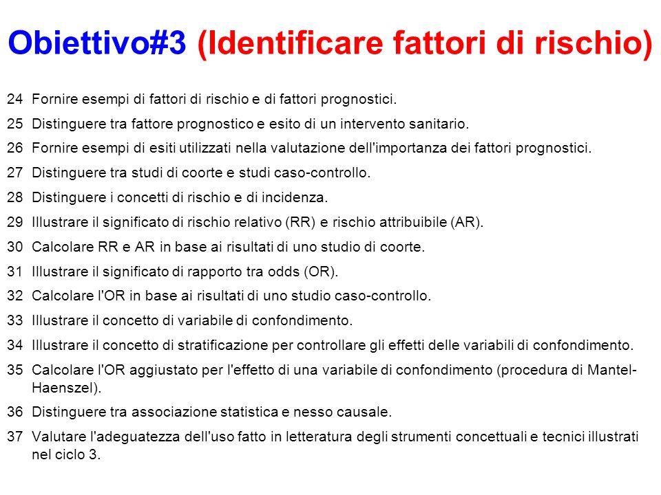 Obiettivo#3 (Identificare fattori di rischio) 24Fornire esempi di fattori di rischio e di fattori prognostici. 25Distinguere tra fattore prognostico