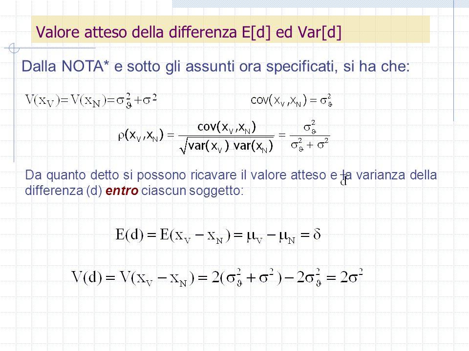 Da quanto detto si possono ricavare il valore atteso e la varianza della differenza (d) entro ciascun soggetto: Valore atteso della differenza E[d] ed