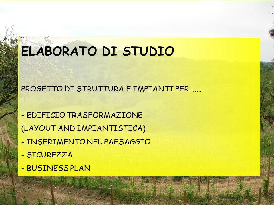 ELABORATO DI STUDIO PROGETTO DI STRUTTURA E IMPIANTI PER …… - EDIFICIO TRASFORMAZIONE (LAYOUT AND IMPIANTISTICA) - INSERIMENTO NEL PAESAGGIO - SICUREZZA - BUSINESS PLAN