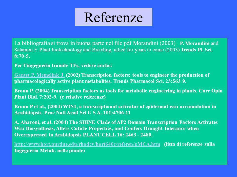 Referenze La bibliografia si trova in buona parte nel file pdf Morandini (2003) P. Morandini and Salamini F. Plant biotechnology and Breeding, allied