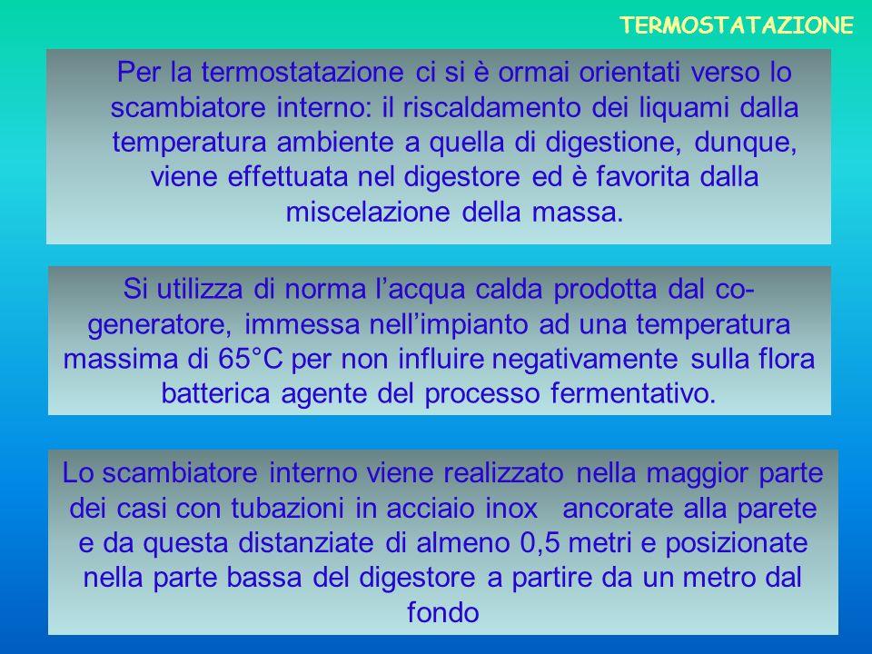 Per la termostatazione ci si è ormai orientati verso lo scambiatore interno: il riscaldamento dei liquami dalla temperatura ambiente a quella di diges