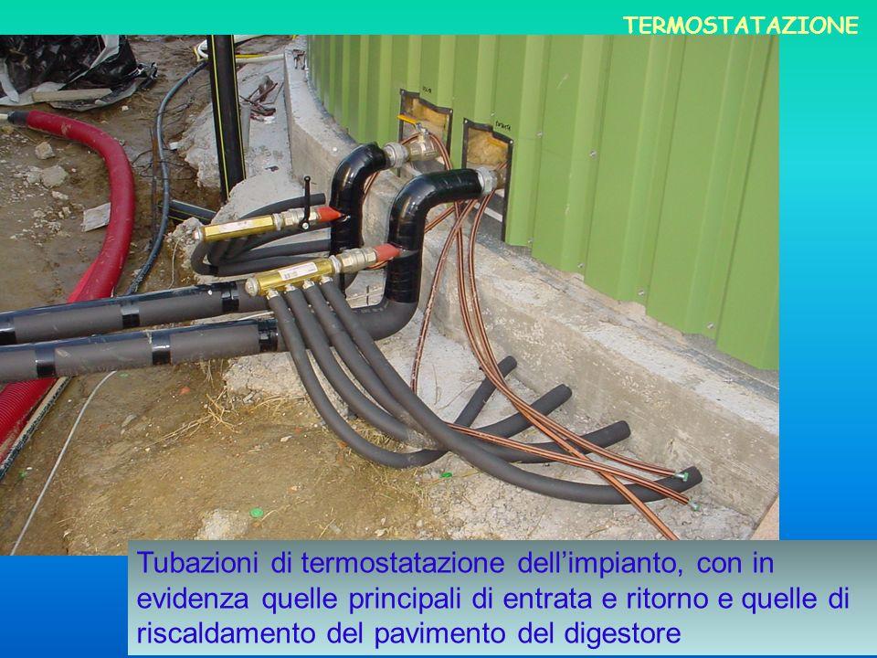 Tubazioni di termostatazione dellimpianto, con in evidenza quelle principali di entrata e ritorno e quelle di riscaldamento del pavimento del digestor