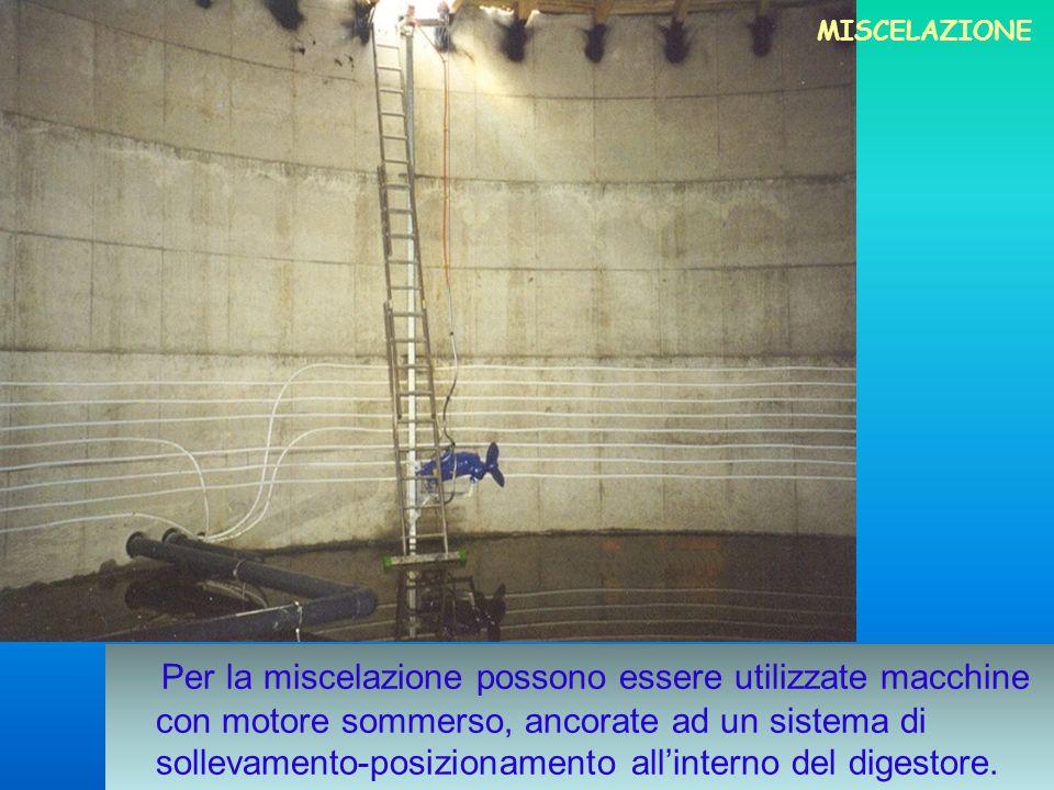 Per la miscelazione possono essere utilizzate macchine con motore sommerso, ancorate ad un sistema di sollevamento-posizionamento allinterno del diges