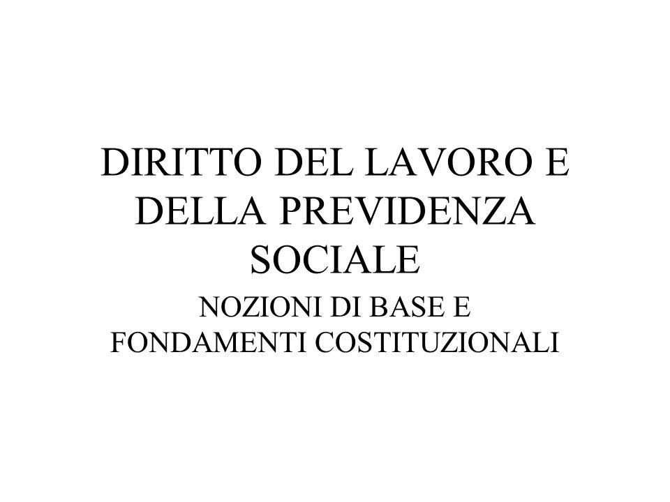 DIRITTO DEL LAVORO E DELLA PREVIDENZA SOCIALE NOZIONI DI BASE E FONDAMENTI COSTITUZIONALI