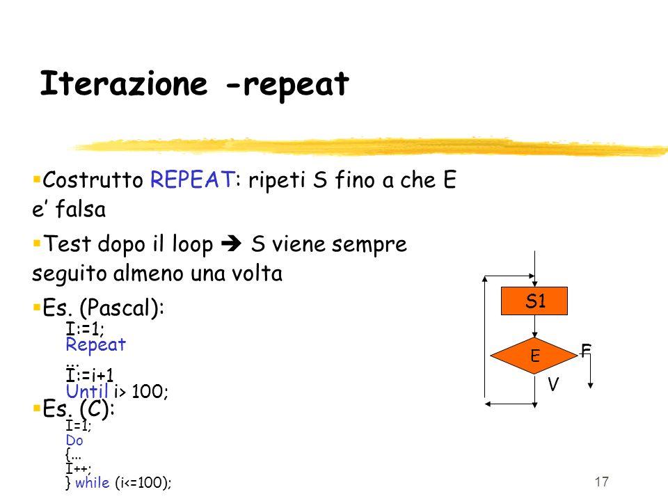 17 Iterazione -repeat Costrutto REPEAT: ripeti S fino a che E e falsa Test dopo il loop S viene sempre seguito almeno una volta Es. (Pascal): I:=1; Re