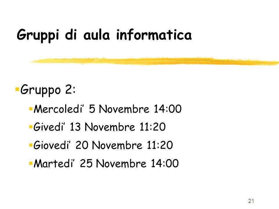 21 Gruppi di aula informatica Gruppo 2: Mercoledi 5 Novembre 14:00 Givedi 13 Novembre 11:20 Giovedi 20 Novembre 11:20 Martedi 25 Novembre 14:00
