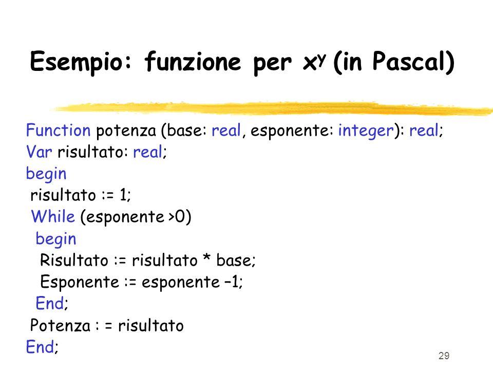 29 Esempio: funzione per x y (in Pascal) Function potenza (base: real, esponente: integer): real; Var risultato: real; begin risultato := 1; While (es