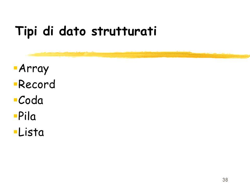 38 Tipi di dato strutturati Array Record Coda Pila Lista