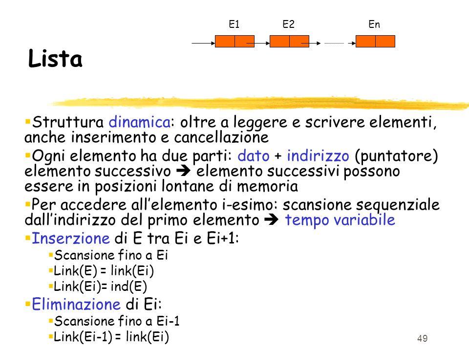 49 Lista Struttura dinamica: oltre a leggere e scrivere elementi, anche inserimento e cancellazione Ogni elemento ha due parti: dato + indirizzo (punt