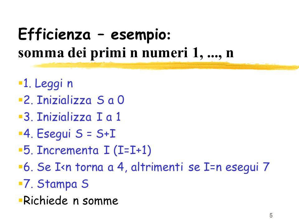 5 Efficienza – esempio : somma dei primi n numeri 1,..., n 1. Leggi n 2. Inizializza S a 0 3. Inizializza I a 1 4. Esegui S = S+I 5. Incrementa I (I=I