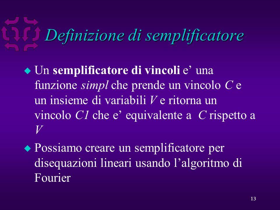 13 Definizione di semplificatore u Un semplificatore di vincoli e una funzione simpl che prende un vincolo C e un insieme di variabili V e ritorna un vincolo C1 che e equivalente a C rispetto a V u Possiamo creare un semplificatore per disequazioni lineari usando lalgoritmo di Fourier