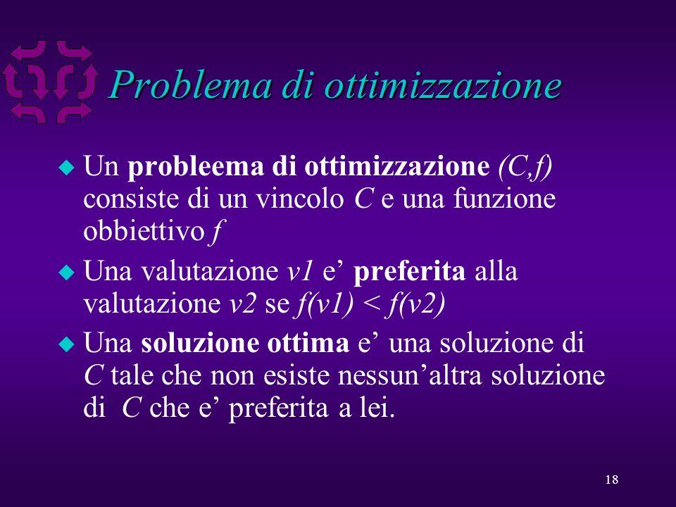 18 Problema di ottimizzazione u Un probleema di ottimizzazione (C,f) consiste di un vincolo C e una funzione obbiettivo f u Una valutazione v1 e preferita alla valutazione v2 se f(v1) < f(v2) u Una soluzione ottima e una soluzione di C tale che non esiste nessunaltra soluzione di C che e preferita a lei.