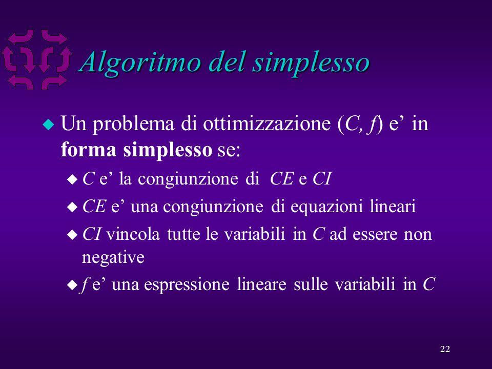 22 Algoritmo del simplesso u Un problema di ottimizzazione (C, f) e in forma simplesso se: u C e la congiunzione di CE e CI u CE e una congiunzione di equazioni lineari u CI vincola tutte le variabili in C ad essere non negative u f e una espressione lineare sulle variabili in C