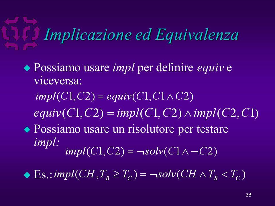 35 Implicazione ed Equivalenza u Possiamo usare impl per definire equiv e viceversa: u Possiamo usare un risolutore per testare impl: u Es.: