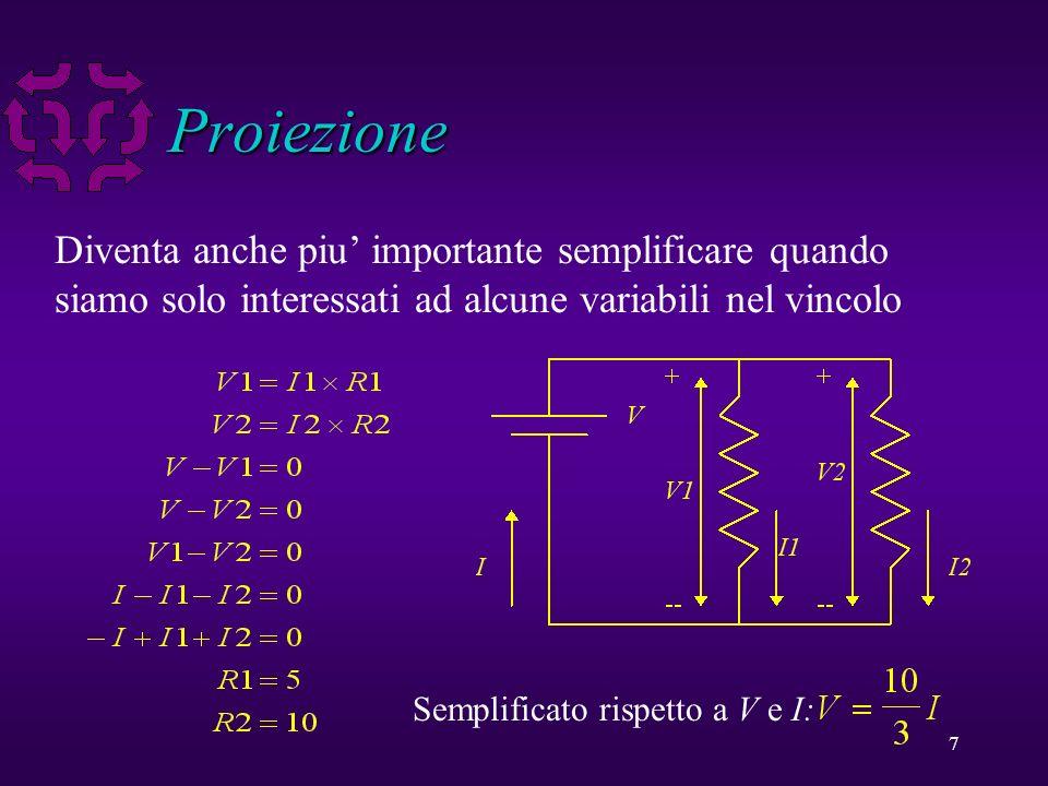 8 Proiezione u La proiezione di un vincolo C sulle variabili V e un vincolo C1 tale che u C1 ha solo le variabili in V u Ogni soluzione di C e una soluzione di C1 u Una soluzione di C1 puo essere estesa per ottenere una soluzione di C