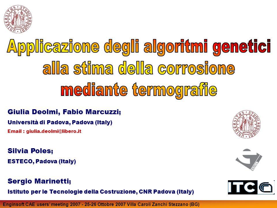 Enginsoft CAE users meeting 2007 - 25-26 Ottobre 2007 Villa Caroli Zanchi Stezzano (BG) Dati sperimentali forniti dal CNR