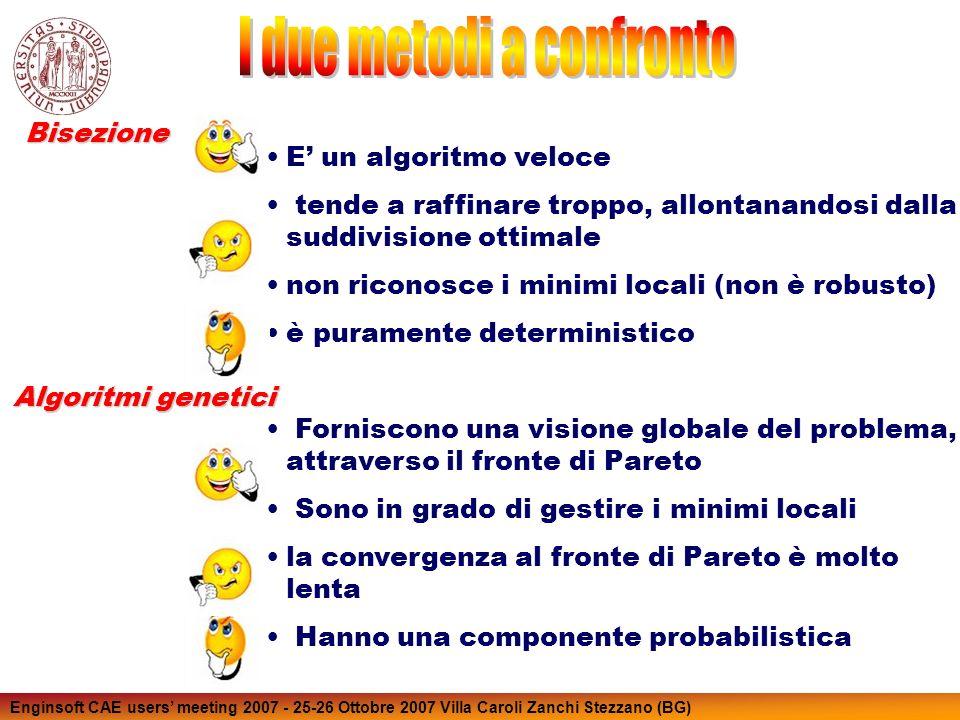 Enginsoft CAE users meeting 2007 - 25-26 Ottobre 2007 Villa Caroli Zanchi Stezzano (BG) Bisezione Algoritmi genetici E un algoritmo veloce tende a raffinare troppo, allontanandosi dalla suddivisione ottimale non riconosce i minimi locali (non è robusto) è puramente deterministico Forniscono una visione globale del problema, attraverso il fronte di Pareto Sono in grado di gestire i minimi locali la convergenza al fronte di Pareto è molto lenta Hanno una componente probabilistica