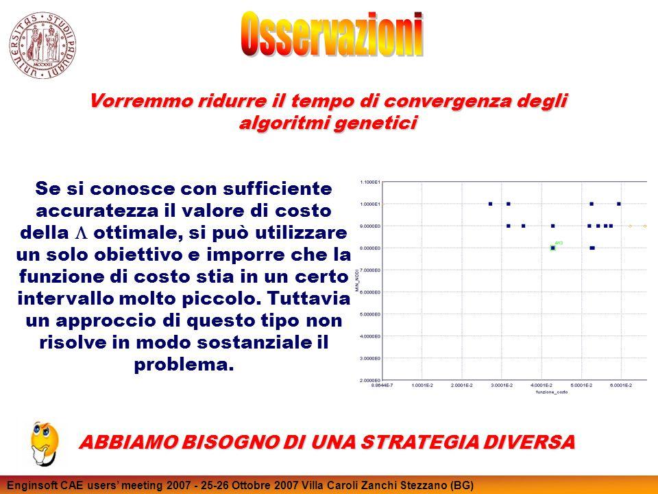 Enginsoft CAE users meeting 2007 - 25-26 Ottobre 2007 Villa Caroli Zanchi Stezzano (BG) Se si conosce con sufficiente accuratezza il valore di costo d
