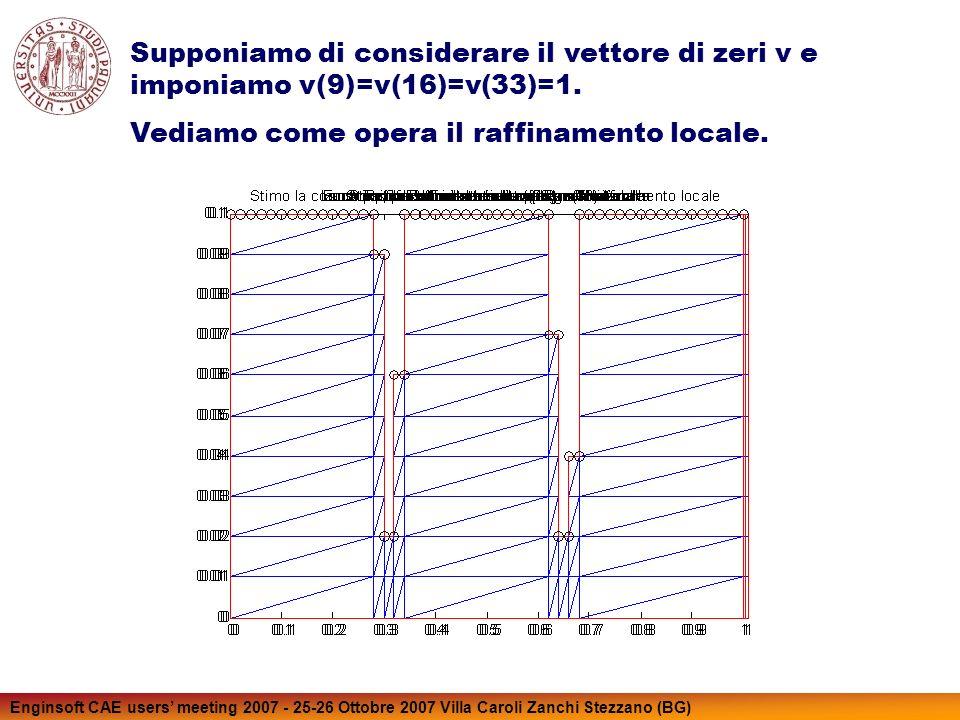 Enginsoft CAE users meeting 2007 - 25-26 Ottobre 2007 Villa Caroli Zanchi Stezzano (BG) Supponiamo di considerare il vettore di zeri v e imponiamo v(9