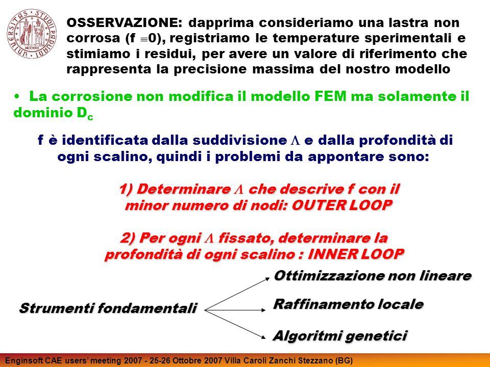 Enginsoft CAE users meeting 2007 - 25-26 Ottobre 2007 Villa Caroli Zanchi Stezzano (BG) Ad ogni parametro corrisponde una precisa zona spaziale del profilo di corrosione Lampiezza di questa zona non può essere troppo grande per assicurare la convergenza ad una stima sufficientemente accurata del profilo di corrosione Consideriamo la situazione di parametri non sovrapposti Il ciclo interno si basa su un metodo di ottimizzazione non lineare: Prediction Error Method (PEM).
