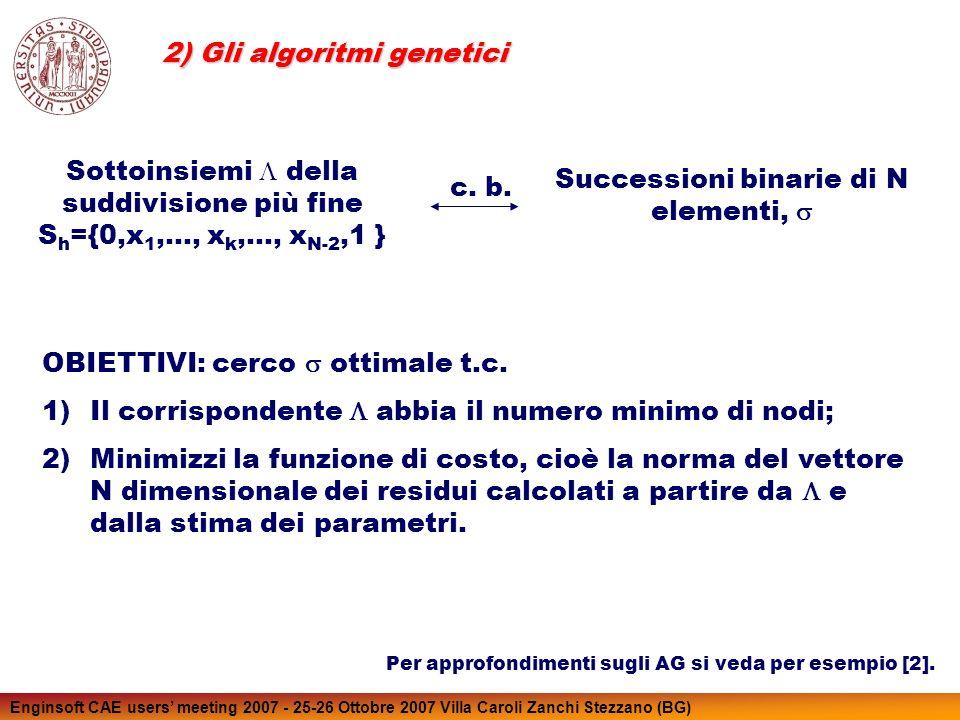 Enginsoft CAE users meeting 2007 - 25-26 Ottobre 2007 Villa Caroli Zanchi Stezzano (BG) Sottoinsiemi della suddivisione più fine S h ={0,x 1,…, x k,…,