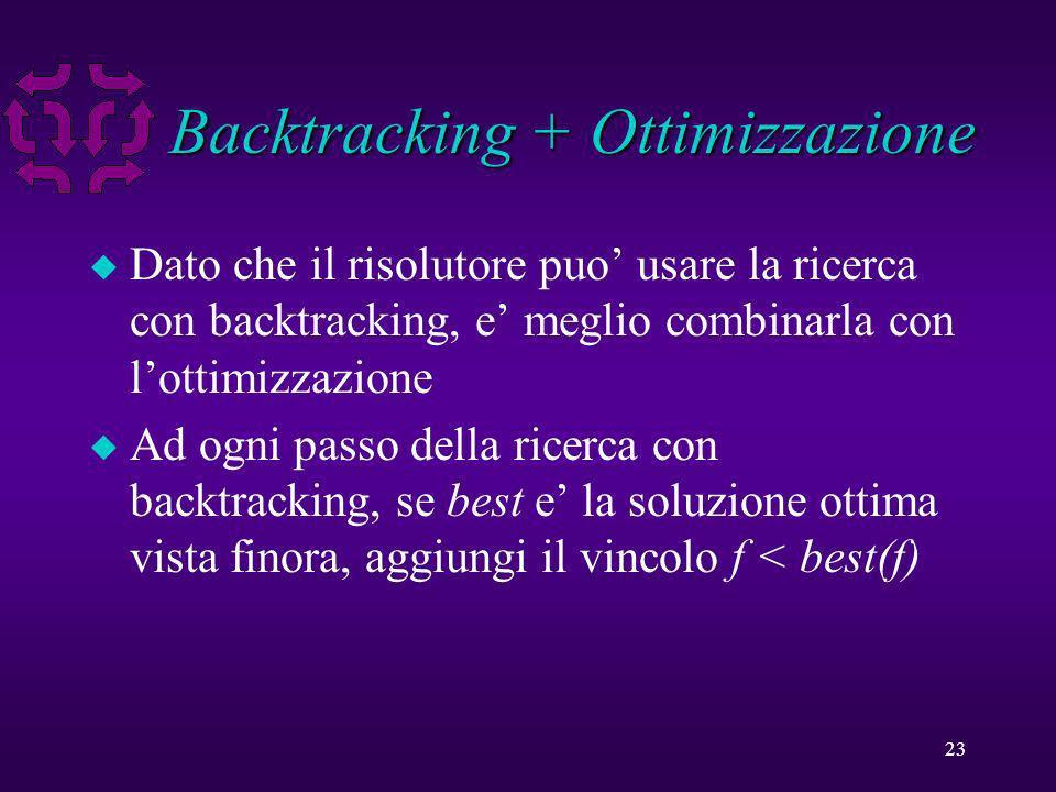 23 Backtracking + Ottimizzazione u Dato che il risolutore puo usare la ricerca con backtracking, e meglio combinarla con lottimizzazione u Ad ogni passo della ricerca con backtracking, se best e la soluzione ottima vista finora, aggiungi il vincolo f < best(f)