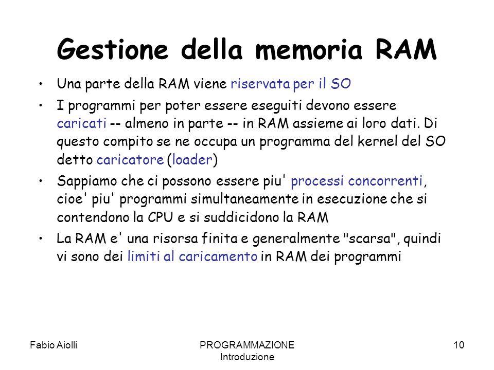 Fabio AiolliPROGRAMMAZIONE Introduzione 10 Gestione della memoria RAM Una parte della RAM viene riservata per il SO I programmi per poter essere esegu