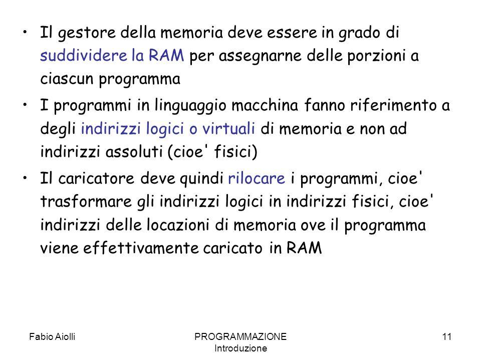 Fabio AiolliPROGRAMMAZIONE Introduzione 11 Il gestore della memoria deve essere in grado di suddividere la RAM per assegnarne delle porzioni a ciascun